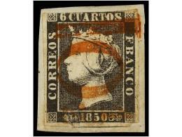 ESPAÑA. Ed.1A. 6 Cuartos Negro, Pl. I Mat. 10 1/2 De ZARAGOZA En Rojo Sobre... - Stamps