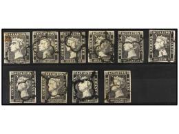 °/ ESPAÑA. Ed.1 Y 1A. 6 Cuartos Negro, Pl. I Y II. 10 Sellos Más Un Fragmento. Todos Los... - Stamps