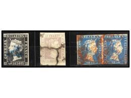 ° ESPAÑA. Ed.1, 2, 4 (2). Conjunto Formado Por Un 6 Cuartos Negro, Mat. 11 De ZARAGOZA,... - Stamps