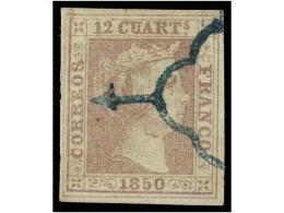 ° ESPAÑA. Ed.2. 12 Cuartos Lila, Mat. ARAÑA AZUL. MAGNÍFICO EJEMPLAR. Cert.... - Stamps
