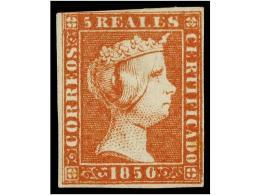 (*) ESPAÑA. Ed.3. 5 Reales Rojo. Bonito Ejemplar, Margen Superior Muy Ajustado Pero Completo. Cert.... - Stamps