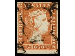 ° ESPAÑA. Ed.3. 5 Reales Rojo. MAGNÍFICO EJEMPLAR, Borde Inferior De Hoja. Cat. 405€.... - Stamps