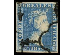 ° ESPAÑA. Ed.4. 6 Reales Azul. Leve Restauración, Excelente Aspecto. Cat. 1.150€. - Stamps