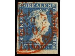 ° ESPAÑA. Ed.4. 6 Reales Azul, Mat. Fechador CORUÑA/20 ENE 1850/GALICIA En Rojo,... - Stamps