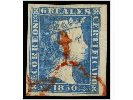 ° ESPAÑA. Ed.4. 6 Reales Azul, Mat. ARAÑA ROJA, Grandes Márgenes, Uno Borde... - Stamps