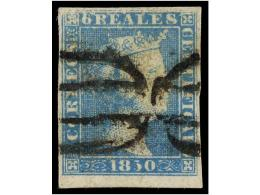 ° ESPAÑA. Ed.4. 6 Reales Azul, Mat. PARRILLA DE MADRID En Negro. MAGNÍFICO... - Stamps