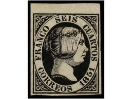 (*) ESPAÑA. Ed.6. 6 Cuartos Negro, Margen Superior De Hoja. PIEZA DE LUJO. - Stamps