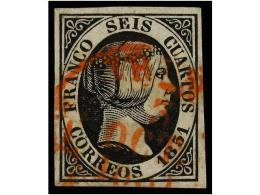 ° ESPAÑA. Ed.6. 6 Cuartos Negro, Mat. Fechador MADRID/ CAST. LA. N. En Rojo.... - Stamps
