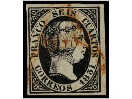 ° ESPAÑA. Ed.6. 6 Cuartos Negro, Mat. A De CÁCERES En Rojo. Estraordinariamente... - Stamps