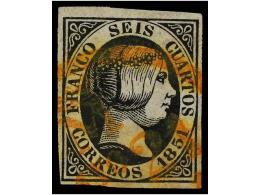 ° ESPAÑA. Ed.6. 6 Cuartos Negro, Mat. Fechador De  MADRID Con Corona En Rojo. Usado En El... - Stamps