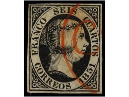 ° ESPAÑA. Ed.6. 6 Cuartos Negro. Mat. Prefilatélico CORVERA En Rojo. MUY BONITO.... - Stamps