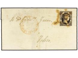 ESPAÑA. Ed.6. 1851. 6 Cuartos Negro, Mat. ARAÑA Y Fechador PUEBLA D. M BAN... - Stamps