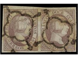 ° ESPAÑA. Ed.7 (2). 12 Cuartos Lila. Pareja Horizontal, Grandes Márgenes. MUY BONITA. Cat.... - Stamps