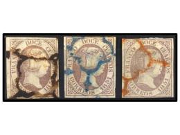 ° ESPAÑA. Ed.7. 12 Cuartos Lila Gris. 3 Sellos Mat. Araña NEGRA, AZUL Y... - Stamps