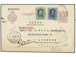 ESPAÑA ENTEROS POSTALES. Ed.57. 1925. MADRID A SUIZA. Entero Postal De 15 Cts. Lila Con Franqueo... - Stamps