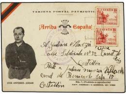 ESPAÑA GUERRA CIVIL. 1940. BENICARLÓ A CASTELLÓN. Tarjeta Postal Con Sellos De 10 Cts.... - Stamps
