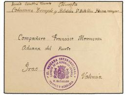 ESPAÑA GUERRA CIVIL. 1937 (Febrero). BRIGADAS INTERNACIONALES. Sobre Circulado A VALENCIA. Marca... - Stamps