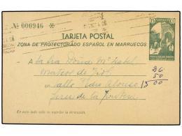 MARRUECOS. Entero Postal De 15 Cts. Verde Circulado De TETUÁN A JEREZ (Ed. 20). - Unclassified