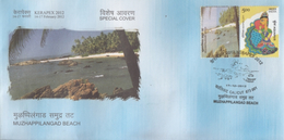 India  2012  Astrology  Aquarius  MyStamp  Muzhappilangad Beach CALICUT  Special Cover   #  94400  Inde  Indien - Astrology
