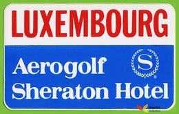 Voyo HOTEL AEROGOLF SHERATON Luxembourg Hotel Label  Sticker 1980s Vintage - Hotel Labels