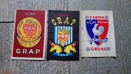 Lot 3 Petits Calendriers De Poche Vin Le Roi GRAP 1958  1959 Farine Du Coq Artésien 1951 Rare Alcool - Calendriers
