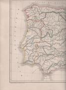 CARTE PHYSIQUE ET POLITIQUE DE L' ESPAGNE ET DU PORTUGAL DRESSEE PAR L. DUSSIEUX 1846 - ( REPUBLIQUE D' ANDORRE ) - Mapas Geográficas