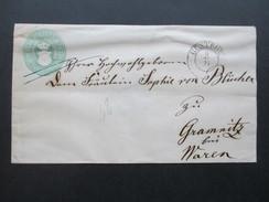 Altdeutschland Mecklemburg - Schwerin GA U2 A K2 Stempel Güstrow Nach Gramnitz Bei. Waren. Ausgabe 1856 - Mecklenburg-Schwerin