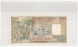 Algérie Billet De 5000 Francs Neuf Juste Pli Central Pas De Trou D'epingle SPL , RRR - Algeria