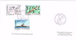 24566. Tarjeta Souvenir BARCELONA 1992. Olimpiadas, 6ª Emision Pre Olimpica, Num 3104-3106 - 1931-Hoy: 2ª República - ... Juan Carlos I