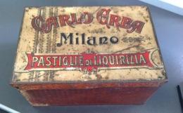 """Grande SCATOLA  Latta Primi '900  """" CARLO ERBA Milano - Pastiglie Liquirizia """" - Scatole/Bauli"""