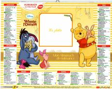 Calendrier Almanach De Naissance 2014 La Poste PTT Winnie L'ourson Tigrou Coco - Calendarios