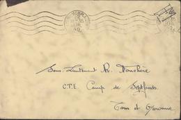 Guerre 39 45 Camp Septfond Tarn Et Garonne CTE Centre Travailleurs étrangers Républicains Espagnols FM - Postmark Collection (Covers)