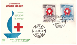 Fdc Chimera : CROCE ROSSA 1963 ; No Viaggiata; AF_Pisa - F.D.C.