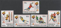 """SERIE NEUVE DE COTE D´IVOIRE - COUPE DU MONDE DE FOOTBALL """"ESPANA´82"""" N° 583 A 587 - World Cup"""