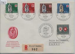 1957 Pro Patria B81-B85/641-645 FDC First Day Cover Ausgabetag Bundesfeiermarken Charge Nach Basel - FDC