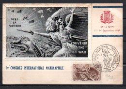 1947/09/13 1er Congrès International Maximaphile, Dijon Avec Illustration En Soie - Cartes-Maximum