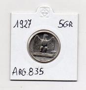 Italia - Regno - 1927 - 5 Lire Aquilotto - Argento 835 - (MW37) - 1861-1946 : Kingdom