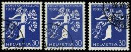 SCHWEIZ BUNDESPOST 347,351,355 O, 1939, 30 C. Landesausstellung, Alle 3 Sprachen, 3 Prachtwerte, Mi. 36.- - Gebraucht