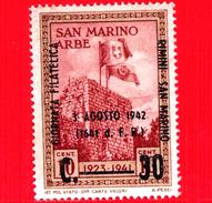 Nuovo - MH - SAN MARINO - 1942 - Bandiere Di San Marino E D'Italia Sulla Rocca Di Arbe - 30 - Sovrastampa GIORNATA FILAT - Saint-Marin