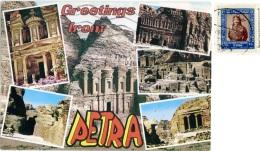 JORDAN  GIORDANIA  PETRA  Greeting From..  Multiview  Nice Stamp - Giordania