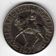 GB UK : 25 New Pence 1977 : Reine QEII 25 Ans Depuis 1952 : Cheval - 1971-… : Monnaies Décimales