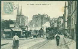 FRANCE.75.PARIS Rue De Belleville B .PLAN Animé TRAM.très Belle Carte 1905.voyagée Pour Noisy Le Grand.tb - Arrondissement: 20
