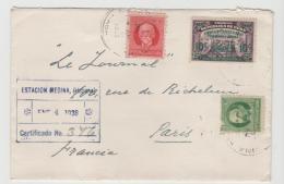 Cu040 / Kuba,  Einschreiben 1938 Ex Estacion Medina Nach Paris, Frankiert MitCentenarop-Ferro Carril Etc. - Kuba