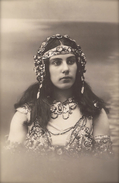CARTE PHOTO ANCIENNE RARE MYSTERE FEMME SUPERBE BIJOUX MATA HARI STYLE MYSTERIOUS WOMAN EXQUISITE JEWELS HEADDRESS - Moda