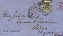 Balearen, Incoming Mail Der Bank Of England, London, Versandt Nach Palma De Mallorca, 1874 - Spanien