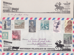 = Timbres Espagne 9 Sur Enveloppe Juillet 1970 Avec Carte Correspondance (écrite) - 1931-Hoy: 2ª República - ... Juan Carlos I
