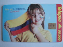 1 Chip Phonecard From Colombia - Telepsa - Girl With Flag - Colombia