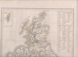 CARTE PHYSIQUE ET POLITIQUE DU ROYAUME-UNI DE LA GRANDE-BRETAGNE ET D' IRLANDE / ILES SHETLAND PAR L. DUSSIEUX 1847 - Geographical Maps