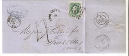 N° 30 LP.60/BRUXELLES 25 NOV.71 V.Fives (France)- GRIFFE AFFR.INSUFF/60 TAXE = 4 Déc. TB - 1869-1883 Leopold II