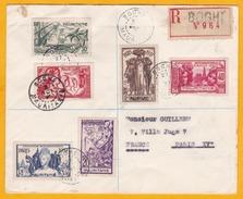 1937 Exposition  Internationale De Paris, Série Sur Lettre Reco De Boghé, Mauritanie Vers Paris Via Saint Louis, Sénégal - 1937 Exposition Internationale De Paris